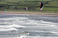 Surfing and Kite surfing at the popular beach Lehinch, Liscannor Bay,County Clare, Ireland.