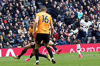Serge Aurier of Tottenham Hotspur scores the second goal during Tottenham Hotspur vs Wolverhampton Wanderers, Premier League Football at Tottenham Hotspur Stadium on 1st March 2020