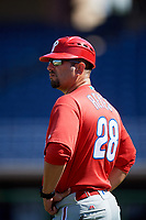Philadelphia Phillies Milver Reyes (28) during a Florida Instructional League game against the Toronto Blue Jays on September 24, 2018 at Spectrum Field in Clearwater, Florida.  (Mike Janes/Four Seam Images)