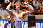 CLEVELAND, OH - MARCH 10: Ben Brisman, of Ithaca, celebrates his win in the 141 weight class during the Division III Men's Wrestling Championship held at the Cleveland Public Auditorium on March 10, 2018 in Cleveland, Ohio. (Photo by Jay LaPrete/NCAA Photos via Getty Images)