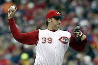 03 April 2006: Cincinnati Red's Aaron Harang pitches against the Chicago Cubs during the Reds' home opener at Great American Ballpark in Cincinnati, Ohio.<br />