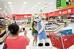August 20, 2011. Chapel Hill, NC.. UNC students brought to the local Super Target by company chartered buses pose with Ramses, the school mascot. Target hired the buses and staged sales to encourage students to buy items in the store that they might need for their dorm rooms.. Many companies have increased their efforts to reach the youth market by employing popular college students to raise the awareness of the brand by peer to peer marketing on campus' around the country.
