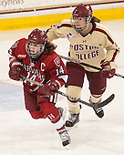 Jillian Dempsey (Harvard - 14), Alex Carpenter (BC - 5) - The Boston College Eagles defeated the visiting Harvard University Crimson 3-1 in their NCAA quarterfinal matchup on Saturday, March 16, 2013, at Kelley Rink in Conte Forum in Chestnut Hill, Massachusetts.