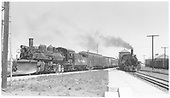 #472 K-28 with San Juan on Chama line, #473 K-28 with Chili Line train on Santa Fe line.<br /> D&amp;RGW  Antonito, CO  Taken by Richardson, Robert W. - 7/4/1941