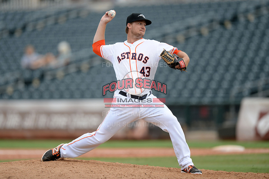 Peoria Javelinas pitcher Andrew Robinson (43), of the Houston Astros organization, during an Arizona Fall League game against the Surprise Scorpions on October 9, 2013 at Scottsdale Stadium in Scottsdale, Arizona.  Surprise defeated Peoria 9-5.  (Mike Janes/Four Seam Images)