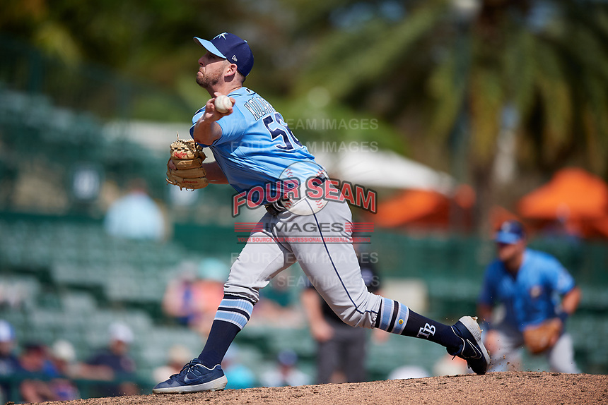 Tampa Bay Rays relief pitcher Adam Kolarek (56) delivers a pitch during a Grapefruit League Spring Training game against the Baltimore Orioles on March 1, 2019 at Ed Smith Stadium in Sarasota, Florida.  Rays defeated the Orioles 10-5.  (Mike Janes/Four Seam Images)
