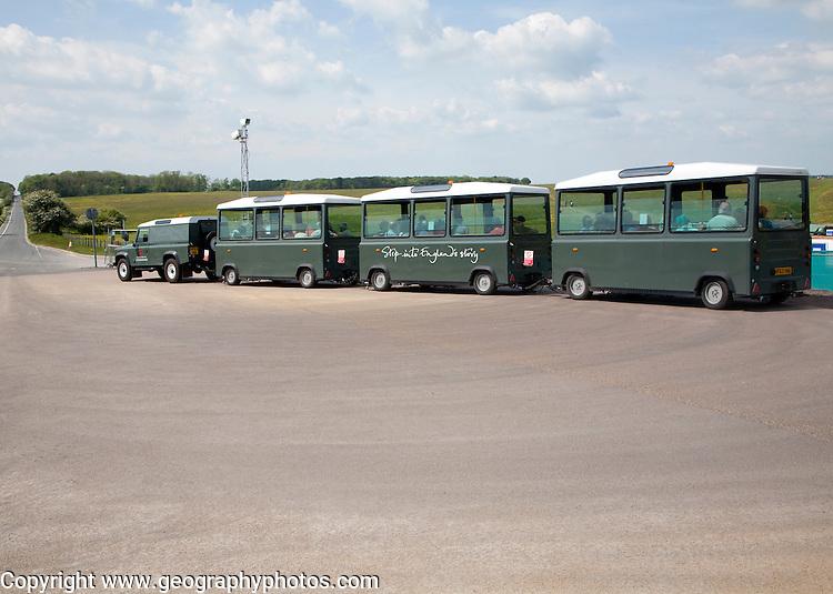 Land train transport system at Stonehenge Wiltshire, England, UK