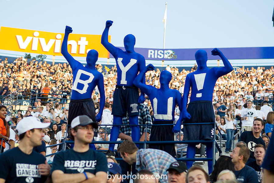 """12FTB vs Hawaii 1736<br /> <br /> 12FTB vs Hawaii, Fans in """"BYU"""" morph suits, Crowd, Football Field, LVES LaVell Edwards Stadium.<br /> <br /> BYU-47<br /> Hawaii-0<br /> <br /> Photo by Bella Torgerson/BYU<br /> <br /> September 28, 2012<br /> <br /> © BYU PHOTO 2012<br /> All Rights Reserved<br /> photo@byu.edu  (801)422-7322"""