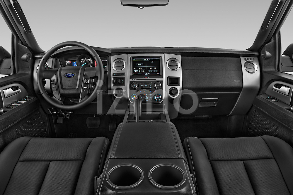 Stock photo of straight dashboard view of a 2015 Ford Expedition XLT 5 Door SUV Dashboard