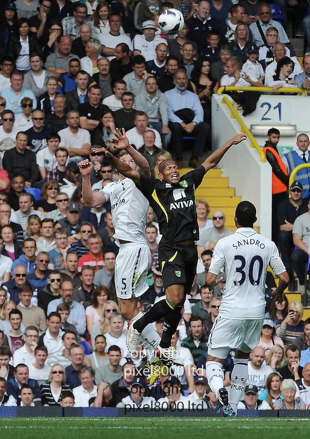 Jan Vertonghen and Sandro Raniere of Tottenham Hotspur in action during the Barclays Premier League match between Tottenham Hotspur and Norwich City at White Hart Lane on September 1, 2012 in London, England. Picture Zed Jameson/pixel 8000 ltd.