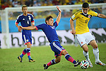 (L to R) <br /> Toshihiro Aoyama (JPN), <br /> James Rodriguez (COL), <br /> JUNE 24, 2014 - Football /Soccer : <br /> 2014 FIFA World Cup Brazil <br /> Group Match -Group C- <br /> between Japan 1-4 Colombia <br /> at Arena Pantanal, Cuiaba, Brazil. <br /> (Photo by YUTAKA/AFLO SPORT)