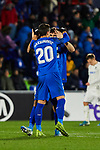 Nemanja Maksimovic (L) and Leandro Cabrera (R) of Getafe FC celebrate goal during UEFA Europa League between Getafe CF and FC Krasnodar at Coliseum Alfonso Perez in Madrid, Spain. December 12, 2019. (ALTERPHOTOS/A. Perez Meca)