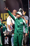WBC/WBA welterweight champion Floyd Mayweather Jr. and Marcos Maidana pose during their official weigh-in at the MGM Grand Garden Arena on September 12, 2014 in Las Vegas