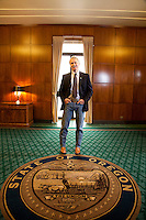Oregon Governor John Kitzhaber in the Governor's Office at the Oregon State Capitol in Salem Oregon