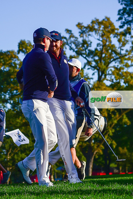 Jimmy Walker (USA) and Zach Johnson (USA) depart number 8 during the Saturday morning foursomes at the Ryder Cup, Hazeltine National Golf Club, Chaska, Minnesota, USA.  10/1/2016<br /> Picture: Golffile | Ken Murray<br /> <br /> <br /> All photo usage must carry mandatory copyright credit (&copy; Golffile | Ken Murray)