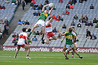 17-1-2017:Kerry's Diarmuid O'Connor goes highest  in the All-Ireland Football final at Croke Park on Sunday.<br /> Photo: Don MacMonagle
