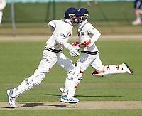 Centurians Zak Crawley (L) and Heino Kuhn cross during the friendly game between Kent CCC and Surrey at the St Lawrence Ground, Canterbury, on Friday Apr 6, 2018