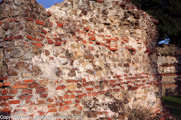 Detail of Roman brick building work in the Balkerne Gate, Colchester, Essex, England