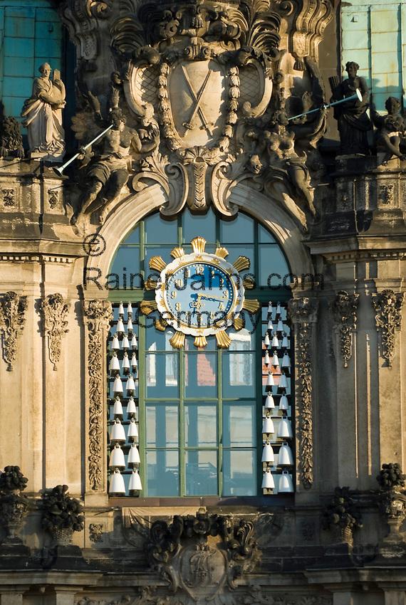 Deutschland, Freistaat Sachsen, Dresden: Zwinger, barockes Bauwerk, Glockenspielpavillon, Dateil | Germany, the Free State of Saxony, Dresden: Zwinger Palace, baroque building, Glockenspiel Pavilion (detail)