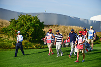 Kevin Kisner (USA) and Phil Mickelson (USA) make their way down 15 during round 1 foursomes of the 2017 President's Cup, Liberty National Golf Club, Jersey City, New Jersey, USA. 9/28/2017.<br /> Picture: Golffile | Ken Murray<br /> ll photo usage must carry mandatory copyright credit (&copy; Golffile | Ken Murray)