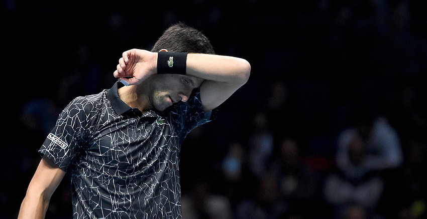 Novak Djokovic in action against Alexander Zverev<br /> Photographer Hannah Fountain/CameraSport<br /> <br /> International Tennis - Nitto ATP World Tour Finals Day 4 - O2 Arena - London - Wednesday 14th November 2018<br /> <br /> World Copyright © 2018 CameraSport. All rights reserved. 43 Linden Ave. Countesthorpe. Leicester. England. LE8 5PG - Tel: +44 (0) 116 277 4147 - admin@camerasport.com - www.camerasport.com