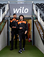 Blackpool's Michael Nottingham, left, and Blackpool's Nya Kirby prior to the game<br /> <br /> Photographer Chris Vaughan/CameraSport<br /> <br /> The EFL Sky Bet League One - Burton Albion v Blackpool - Saturday 16th March 2019 - Pirelli Stadium - Burton upon Trent<br /> <br /> World Copyright &copy; 2019 CameraSport. All rights reserved. 43 Linden Ave. Countesthorpe. Leicester. England. LE8 5PG - Tel: +44 (0) 116 277 4147 - admin@camerasport.com - www.camerasport.com