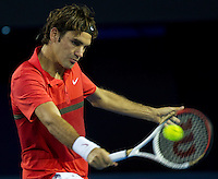 ROGER FEDERER (SUI) against ALEXANDER KUDRYAVTSEV (RUS) in the first round of the men's singles. Roger Federer beat Alexander Kudryavtsev 7-5 6-2 6-2...16/01/2012, 16th January 2012, 16.01.2012..The Australian Open, Melbourne Park, Melbourne,Victoria, Australia.@AMN IMAGES, Frey, Advantage Media Network, 30, Cleveland Street, London, W1T 4JD .Tel - +44 208 947 0100..email - mfrey@advantagemedianet.com..www.amnimages.photoshelter.com.