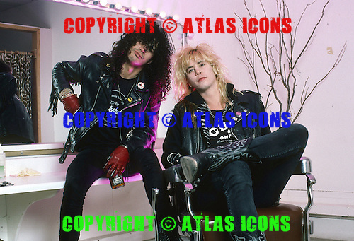 Guns n' Roses photosession - Duff Mckagan and Slash photographed at Techno Balcar Studio Los Angeles CA USA - Jan 27,1988. Photo credit: Eddie Malluk/AtlasIcons.com