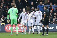 Bira Dembele of Barnet (2nd right) celebrates after he scores his team's first goal of the game to make the score 1-1 during the Sky Bet League 2 match between Luton Town and Barnet at Kenilworth Road, Luton, England on 31 December 2016. Photo by David Horn.