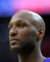 Lamar Odom of the Lakers eyes the crowd. Los Angeles defeated Washington 103-89 at the Verizon Center in Washington, DC on Tuesday, December 14, 2010. Alan P. Santos/DC Sports Box