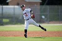 Kannapolis Intimidators shortstop Grant Massey (28) makes a throw to first base against the Hagerstown Suns at Kannapolis Intimidators Stadium on July 9, 2017 in Kannapolis, North Carolina.  The Intimidators defeated the Suns 3-2 in game one of a double-header.  (Brian Westerholt/Four Seam Images)