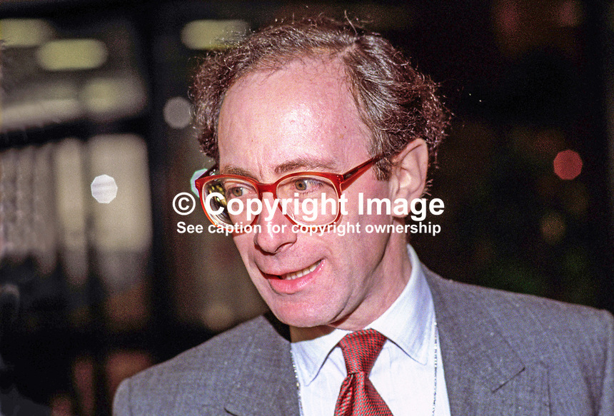 Malcolm Rifkind, MP, Conservative Party, UK, at annual conference, October 1992. 19921071MR.<br /> <br /> Copyright Image from Victor Patterson, 54 Dorchester Park, Belfast, UK, BT9 6RJ<br /> <br /> t1: +44 28 9066 1296 (from Rep of Ireland 048 9066 1296)<br /> t2: +44 28 9002 2446 (from Rep of Ireland 048 9002 2446)<br /> m: +44 7802 353836<br /> <br /> e1: victorpatterson@me.com<br /> e2: victorpatterson@gmail.com<br /> <br /> The use of any of my copyright images is subject to my Terms &amp; Conditions. It is IMPORTANT that you familiarise yourself with them. They are available at my website, victorpatterson.com.<br /> <br /> None of my copyright images may be used on the Internet unless they are visibly watermarked, i.e. &copy; Victor Patterson within the body of the image. My metadata, denoting my copyright must NOT be deleted. <br /> <br /> Web use is extra at currently recommended NUJ rates. Maximum permitted web size is<br />  400kb. <br /> <br /> Images must not be passed on to a third party - they are for the use of the authorised recipient only.