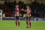 Oliver Norwood of Sheffield Utd and George Baldock of Sheffield Utd shale hands during the Premier League match at Bramall Lane, Sheffield. Picture date: 10th January 2020. Picture credit should read: Chloe Hudson/Sportimage