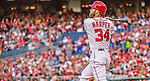 22 May 2015: Washington Nationals outfielder Bryce Harper watches his second inning solo home run clear the fences against the Philadelphia Phillies at Nationals Park in Washington, DC. The Nationals defeated the Phillies 2-1 in the first game of their 3-game weekend series. Mandatory Credit: Ed Wolfstein Photo *** RAW (NEF) Image File Available ***
