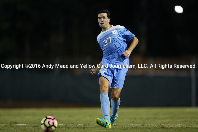 16 September 2016: North Carolina's Walker Hume. The University of North Carolina Tar Heels hosted the University of Pittsburgh Panthers in Chapel Hill, North Carolina in a 2016 NCAA Division I Men's Soccer match. UNC won the game 1-0.