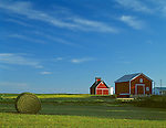 LaSalle County, IL<br /> Red farm buildings with hay bales in a green summer field