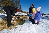 Koyuk kids watch Aliy Zirkle boot her dogs in preparation for leaving Koyuk on Monday during Iditarod 2011