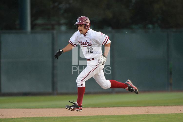 Stanford, CA - Friday, March 1, 2013: Stanford Cardinal center fielder Jonny Locher runs during the NCAA baseball game against the Texas Longhorns.