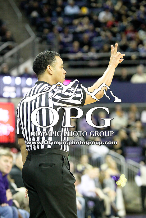 February 12, 2014:  NCAA basketball official Glen Mayberry was on hand to officiate the game between Washington and Stanford.  Washington's against Stanford.  Washington defeated Stanford 64-60 at Alaska Airlines Arena in Seattle, Washington.