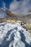 Steam and snow combine at Palette Spring for a dramatic winter landscape-Mammoth Hot Springs