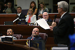 Nevada Assembly Republicans, from lower left, Paul Anderson, Ira Hansen and Randy Kirner listen as Erven Nelson speaks during Assembly floor debate at the Legislative Building in Carson City, Nev., on Sunday, May 31, 2015. The Assembly approved Gov. Brian Sandoval's tax plan 30-10. <br /> Photo by Cathleen Allison