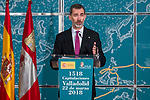 King Felipe VI of Spain attends to Institutional act in commemoration of the capitulations of Valladolid, during the V Centar of the Expedition of the first round of the World of Fernando de Magallanes and Juan Sebastian Elcano in Valladolid , Spain. March 21, 2018. (ALTERPHOTOS/Borja B.Hojas)