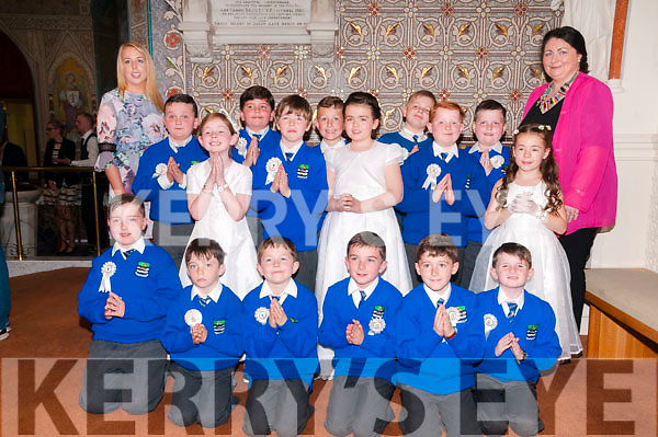 M/s Sarah Lynch's class from Killocrim N School, Listowel who received their1st Commumion from Canon Declan O'Connor at St Mary's Church, Listowel on Saturday last. Principal M/s O'Driscoll at back right.