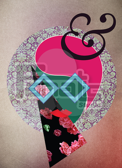 Illustration of woman with floral patterns over colored background