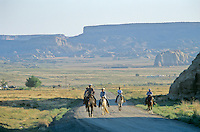 Navajo riders on road to Salina, during, Water Is Life Ride, 7/16/05, south of Cottonwood Chapter House, Navajo Indian Nation, Arizona, AGPix_0628...