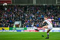 Picture by Alex Whitehead/SWpix.com - 16/03/2018 - Rugby League - Betfred Super League - St Helens v Leeds Rhinos - Totally Wicked Stadium, St Helens, England - St Helens' Danny Richardson kicks for goal.