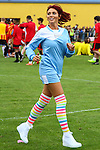 London, UK on Sunday 31st August, 2014. Amy Childs in action during the Soccer Six charity celebrity football tournament at Mile End Stadium, London.