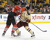 Luke Eibler (Northeastern - 20), Michael Sit (BC - 18) - The Boston College Eagles defeated the Northeastern University Huskies 7-1 in the opening round of the 2012 Beanpot on Monday, February 6, 2012, at TD Garden in Boston, Massachusetts.