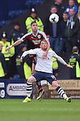 22/04/2016 Sky Bet Championship Preston North End v Burnley<br /> Stephen Ward challenges with Joe Garner