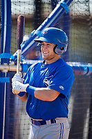 Toronto Blue Jays Logan Warmoth (15) during batting practice before a Minor League Spring Training intrasquad game on March 14, 2018 at the Englebert Complex in Dunedin, Florida.  (Mike Janes/Four Seam Images)